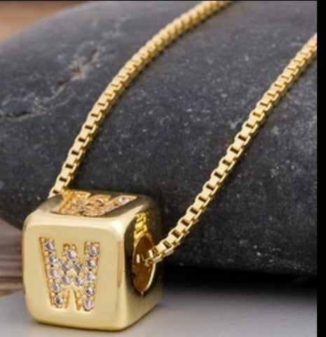 Initial Cube Necklace (W)