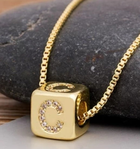 Initial Cube Necklace (C)