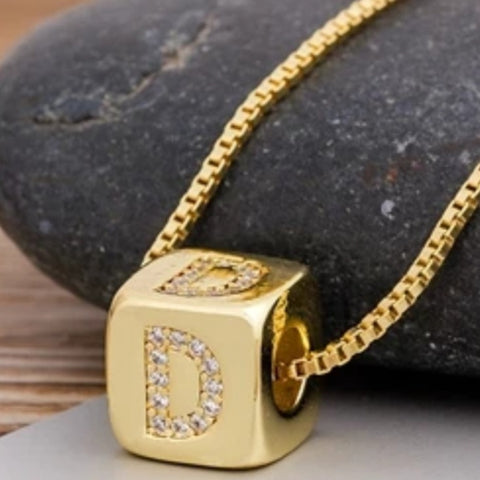 Initial Cube Necklace (D)