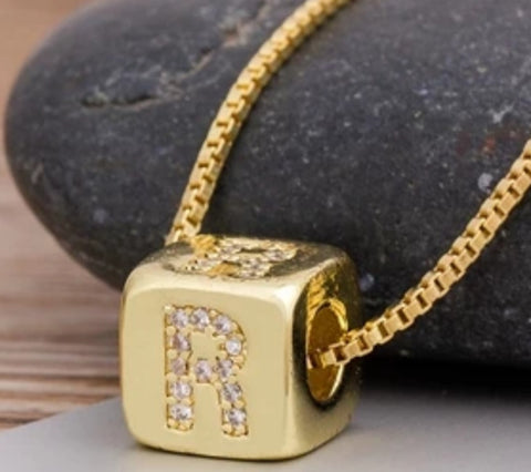 Initial Cube Necklace (R)