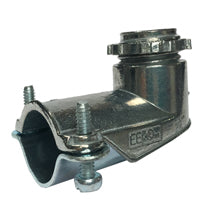Connectors, 90°, Squeeze-Clamp Type, for AC-MC-FMC, Zinc/Steel
