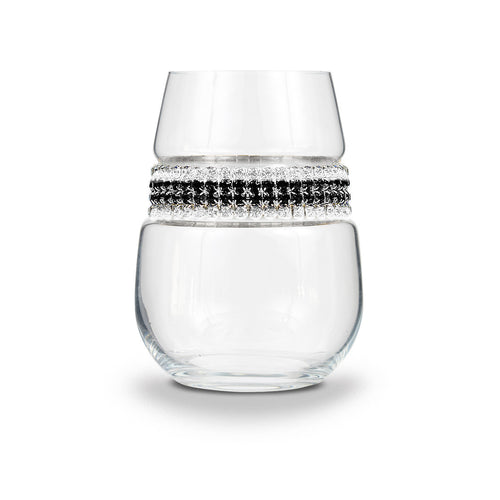 Black Tie Stemless Wine Glass | Stemless Glasses | Shimmering Wines