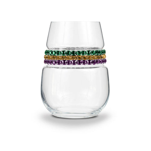 Mardi Gras Stemless Wine Glass | Stemless Glasses | Shimmering Wines