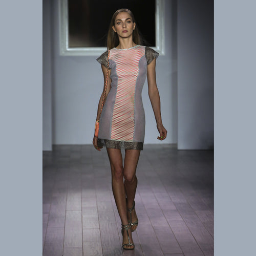 High Tech Performance Fabric Combo Mini Shift Dress with Sheer Sparkle Sleeves