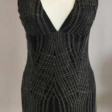 Black/Gold Swirl French Lace Dress With Side Slit