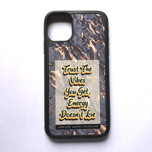 """Trust The Vibes You Get, Energy Doesn't Lie"" // Melted Honey Marble - iPhone 11case"