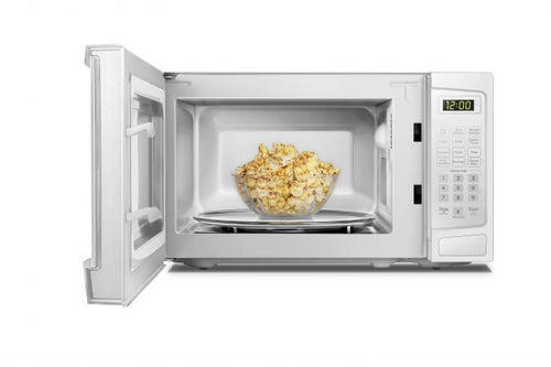 DBMW0720BWW- Danby 0.7 cuft White Microwave - Front facing, door open with popcorn