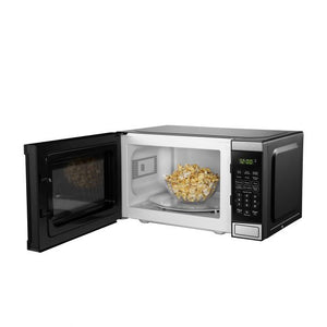 DBMW0721BBS- Danby 0.7 cuft Microwave with Stainless Steel front - front facing door open with popcorn inside