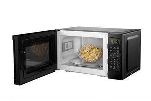 DBMW0920BBB- Danby 0.9 cuft Black Microwave - front facing view with door open with popcorn inside