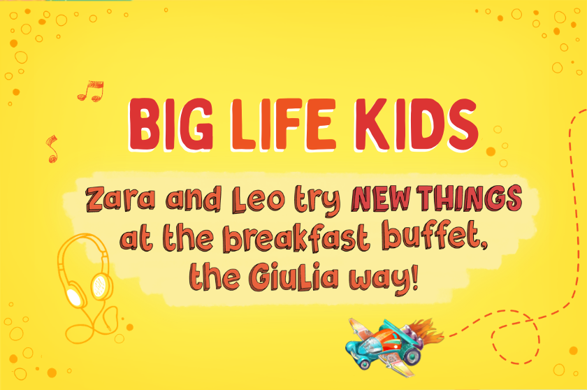 Zara and Leo try NEW THINGS at the breakfast buffet, the Giulia way!