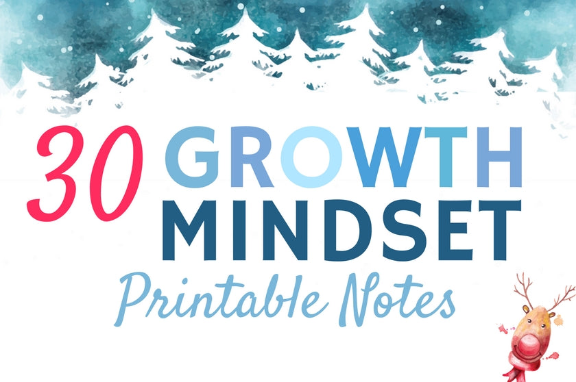 30 Growth Mindset Printable Notes (Winter Themed)