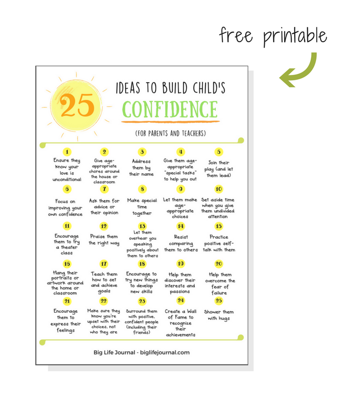 A free printable for parents and teachers to help them boost child's confidence