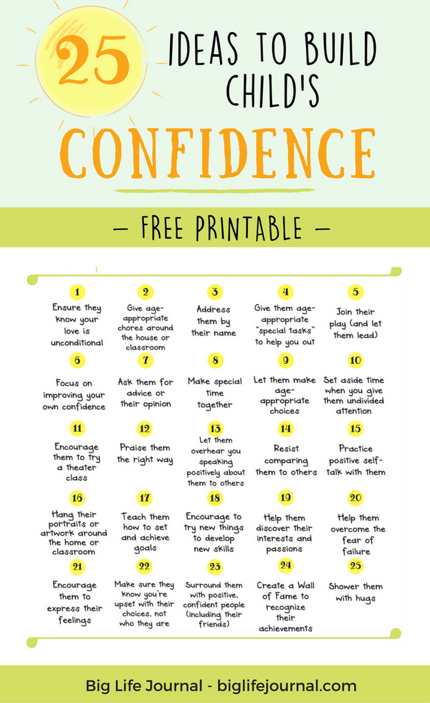 A free printable for parents and teachers! This is a research-based list of ideas on how boost your child's confidence.