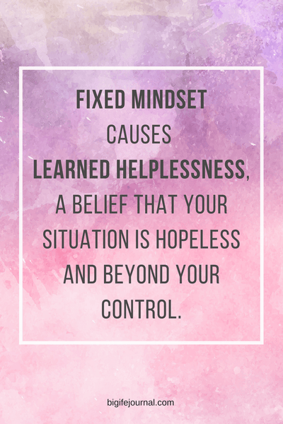 Fixed mindset causes  learned helplessness,  a belief that your situation is hopeless and beyond your control.