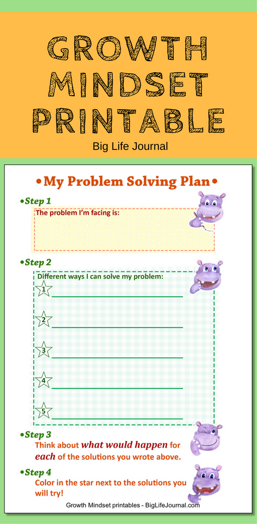 "Growth Mindset Printable for kids ""My Problem Solving Plan"""