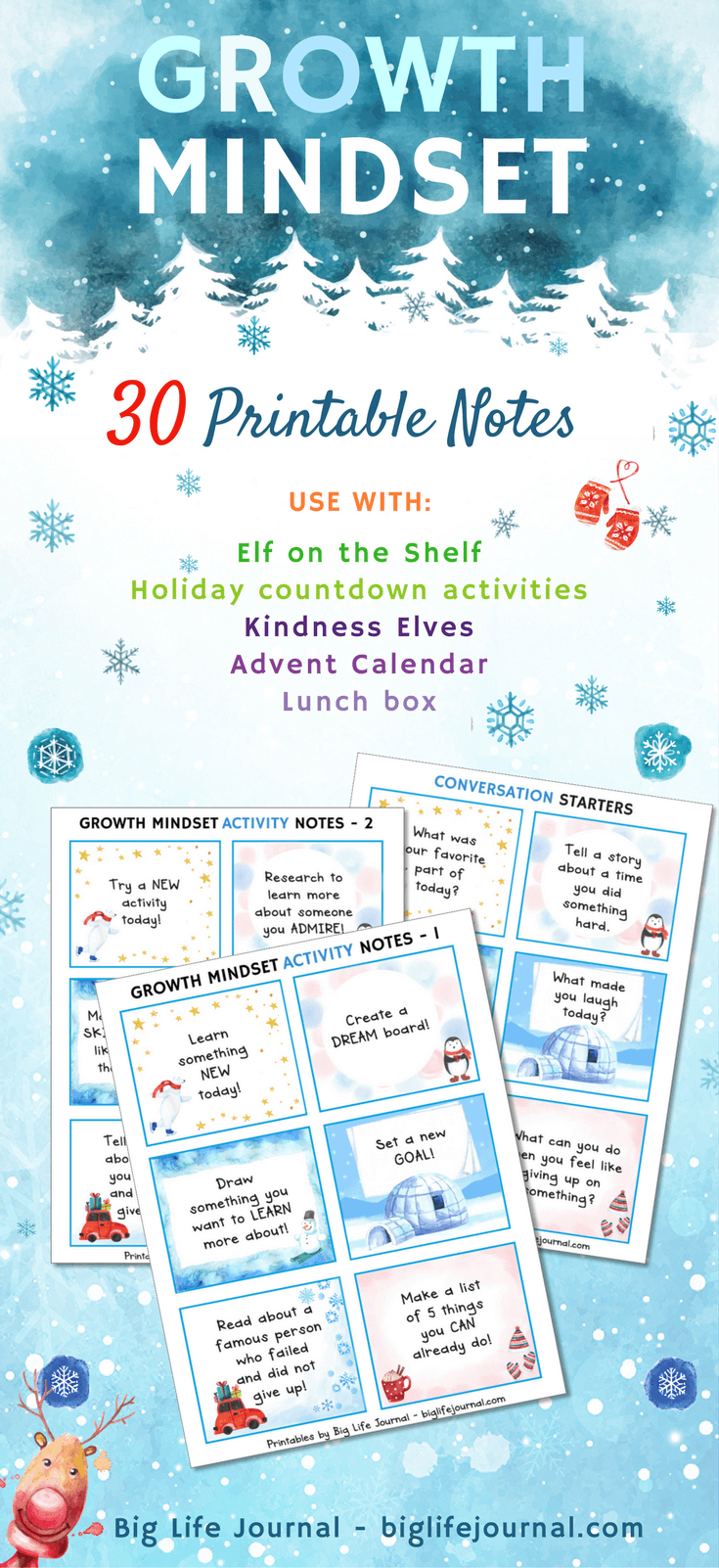 Growth mindset holiday-themed printables notes for children.