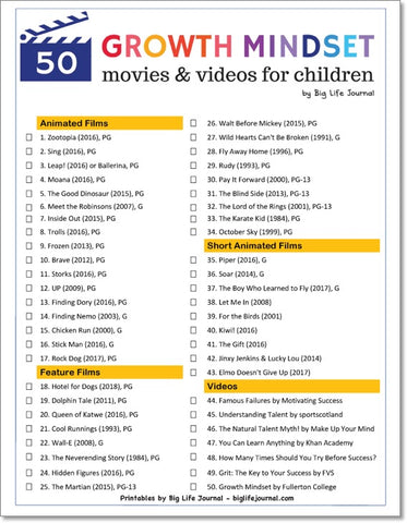 A list of 50 growth mindset movies