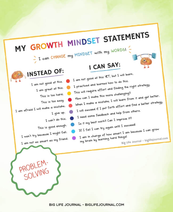 Growth Mindset Statements - Big Life Journal