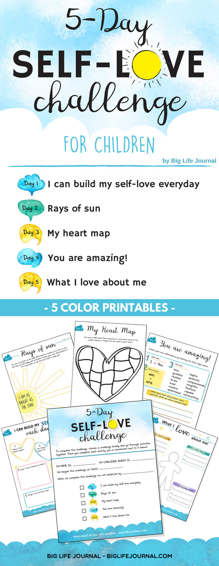 Infographic-Self-Love 5 Day-Challenge-child-worth-esteem-printable-big-life-journal