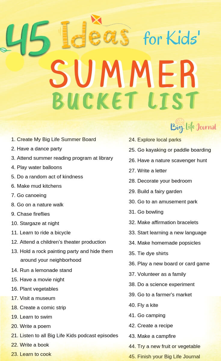 45 Fun Ideas for Kids' Summer Bucket List – Big Life Journal