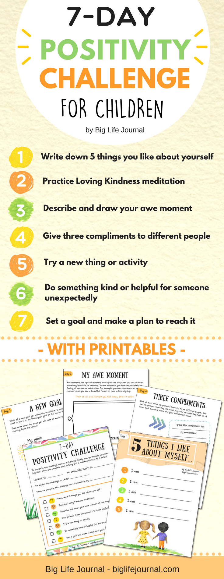7-day positivity challenge for children which includes a printable worksheet for each day.