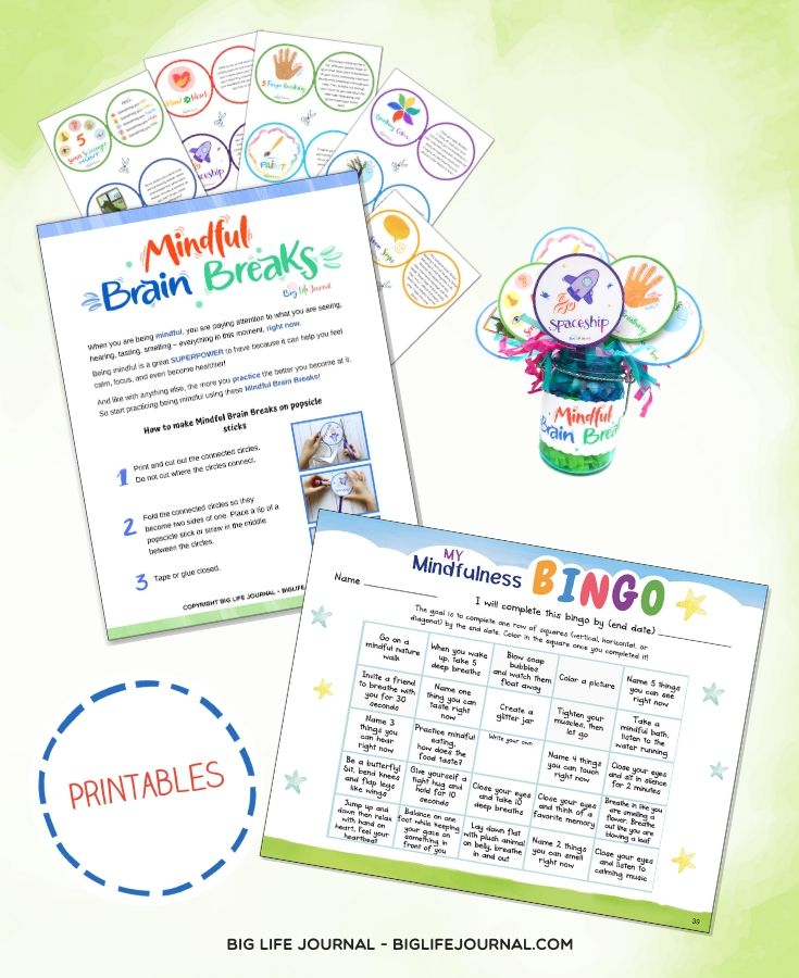 Positivity Kit - Brain Breaks - Mindfulness Bingo - Big Life Journal