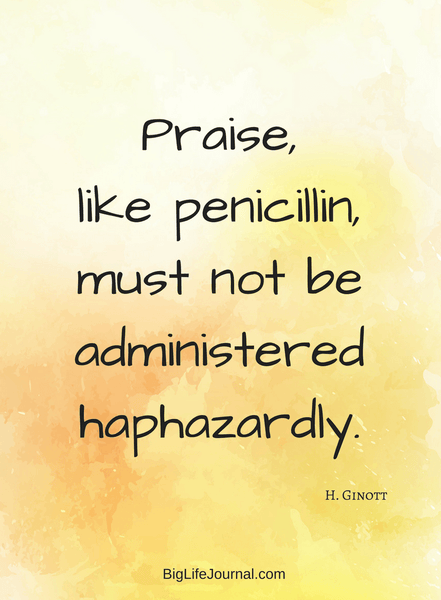 "Inspirational parenting quote: ""Praise, like penicillin, must not be administered haphazardly"" - Ginott"