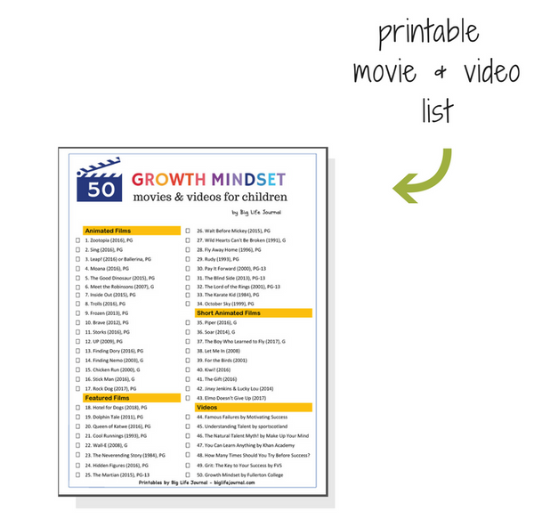 A printable list of growth mindset movies for kids