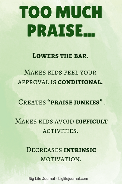 Too much praise can be damaging to child's intrinsic motivation. It's better to praise sincerely and sparingly.
