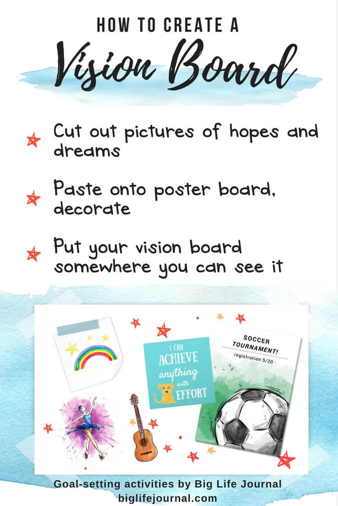 A vision board is a fun goal-setting activity for children at home or in a classroom.