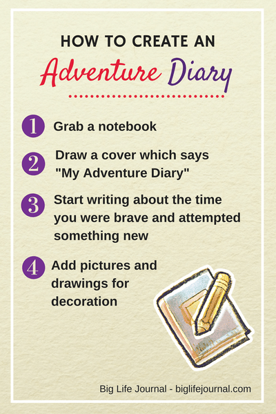 Create an adventure diary to record when your child takes on a challenge or tries something new!
