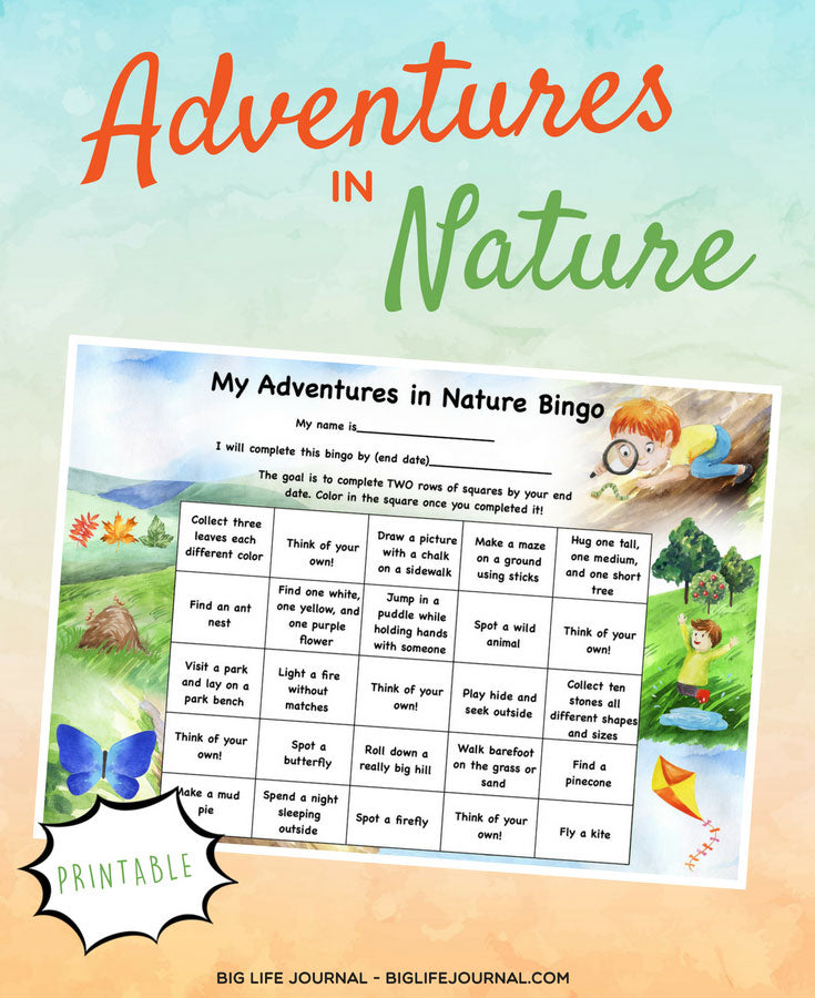 adventures nature bingo - big life journal