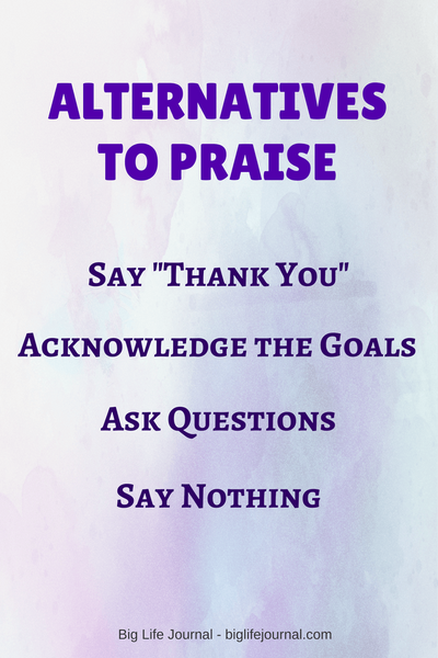 Too much praise can be de-motivating. Alternatives to praise include saying thank-you, acknowledging the goals, asking questions, saying nothing at all.