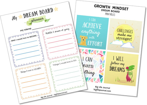 A set of dream board printables for children