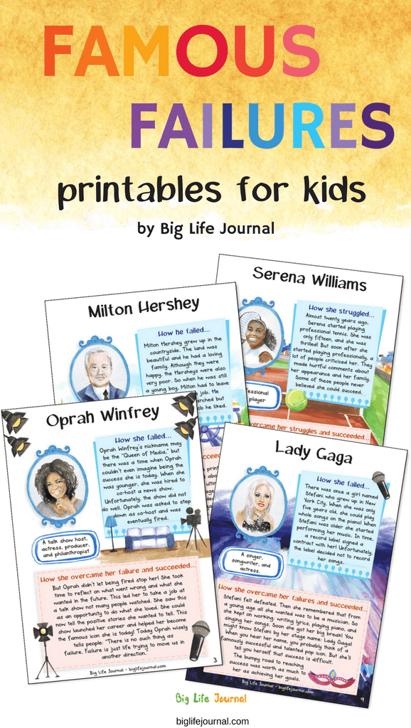 A great activity for children which builds grit and resilience. With these printables, kids learn how famous people failed and persevered on their way to success.