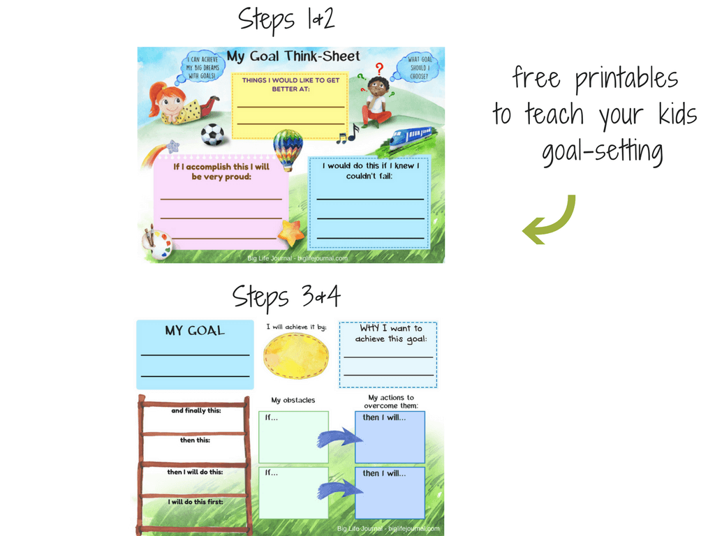 A set of two free printables for kids designed to help them discover and set their goals.