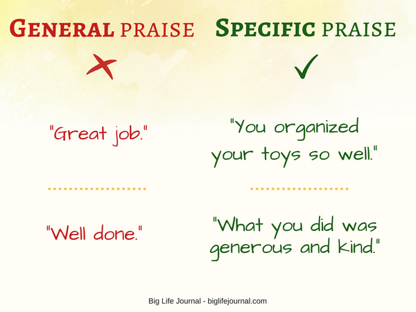 Choose specific praise over general praise.