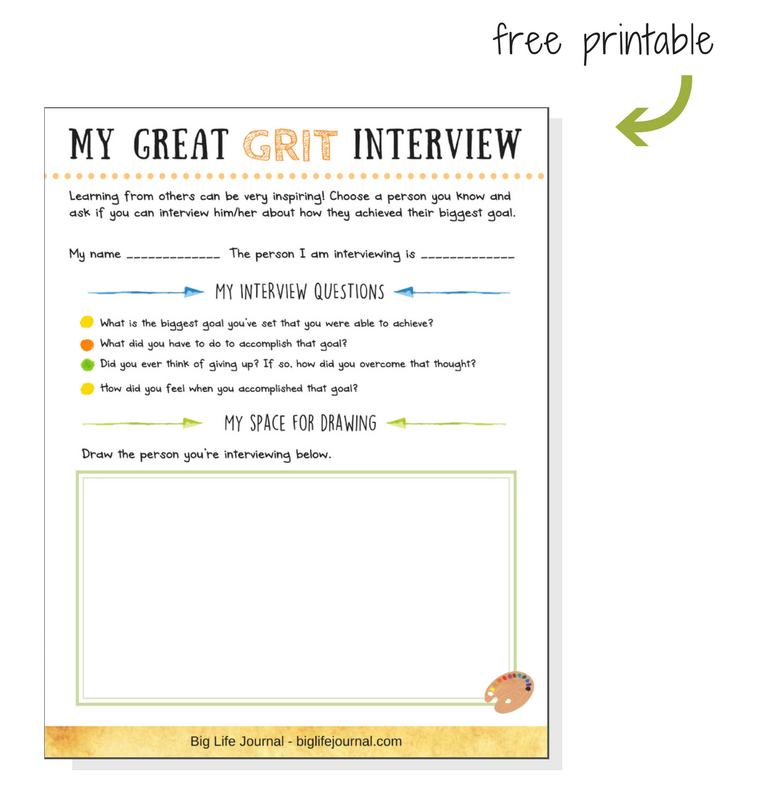 A great grit interview printable for kids and students