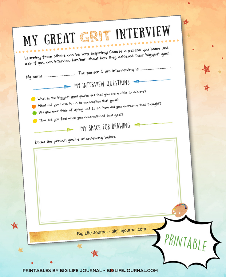 grit interview printable big life journal