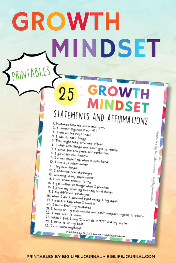 25 Growth Mindset Statement and Affirmations from Big Life Journal