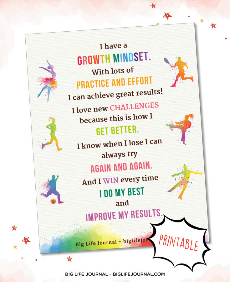 growth mindset challenges effort improve poster