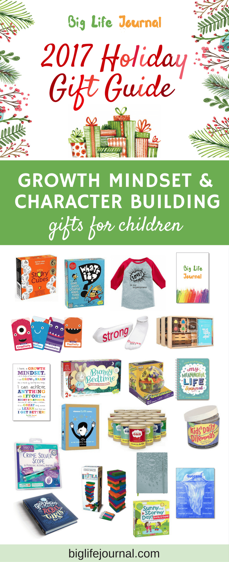 Explore this list of growth mindset and character building gifts for childre!