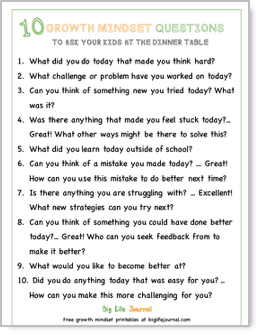 A set of printable growth mindset questions to ask your kids at the dinner table.