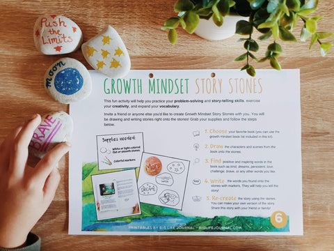 growth mindset story stones printable activity kids