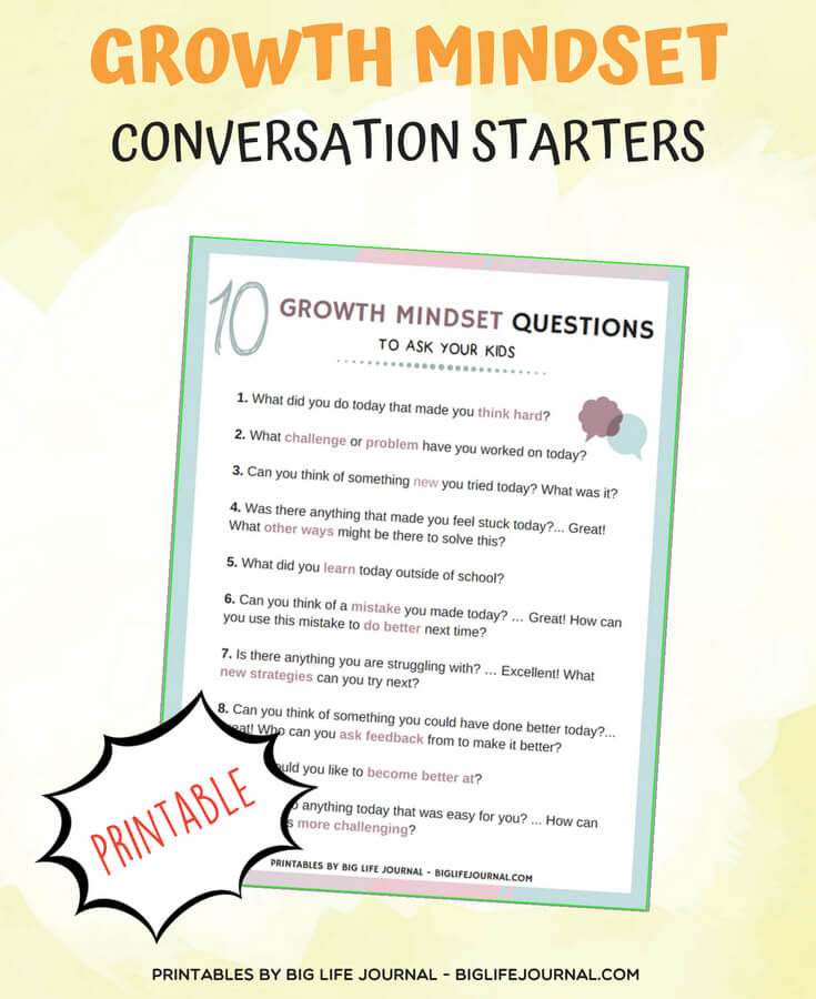 growth mindset conversation starters kids students