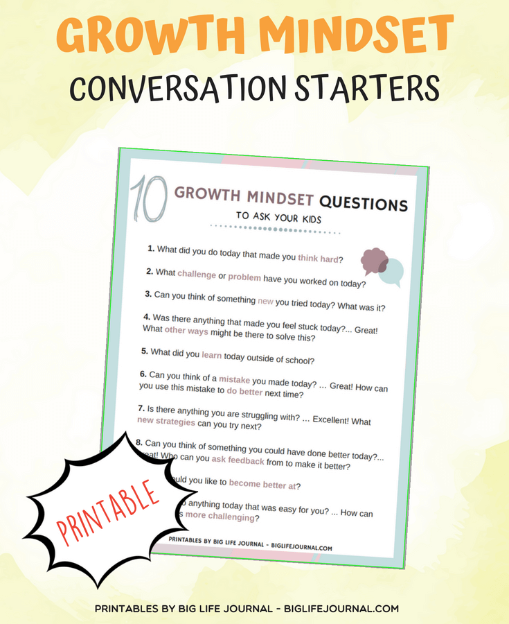 growth mindset conversation starters printables big life journal