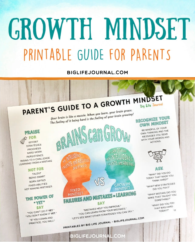 growth mindset printable guide for kids