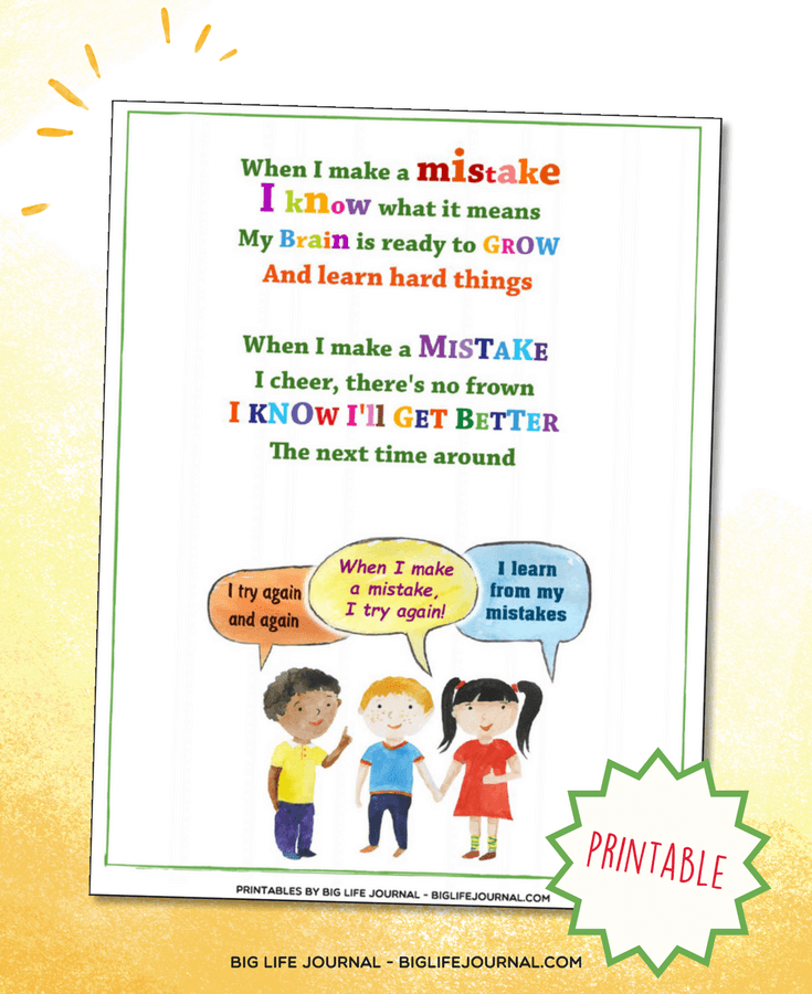 learning from mistakes poem kids