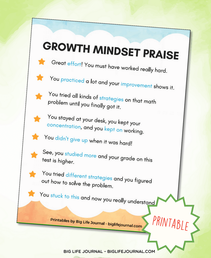 growth mindset praise
