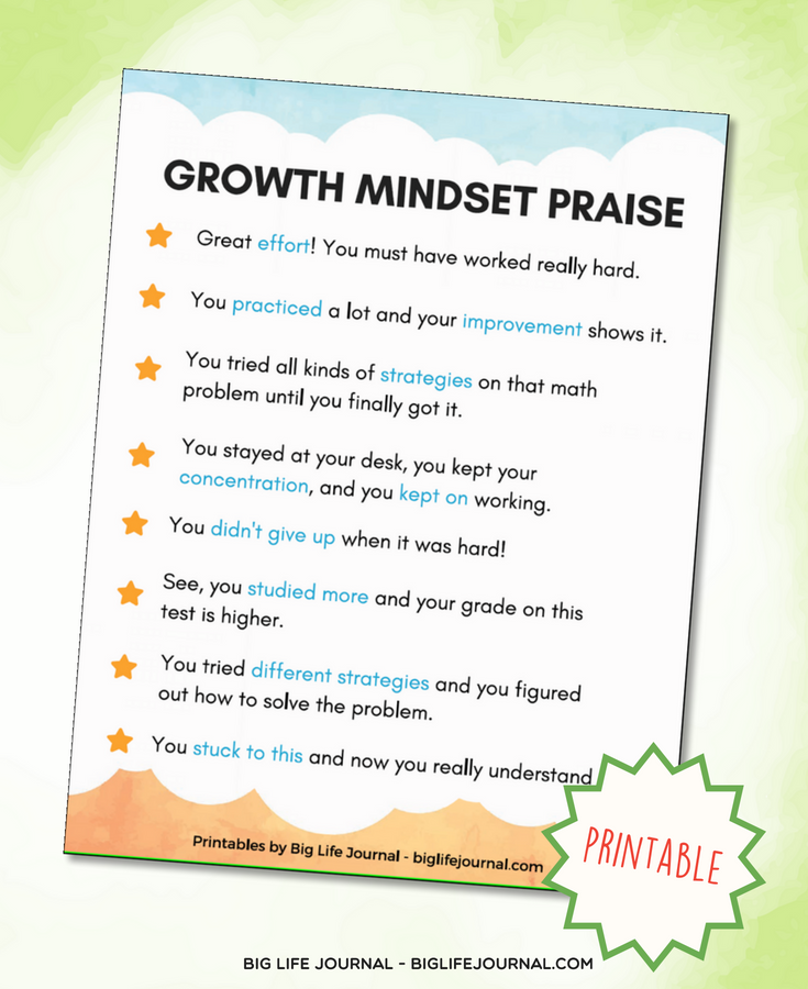growth mindset praise guide parents teachers printable